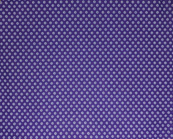 White dots on a dark purple background - Three Cats shweshwe