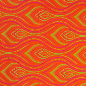 Pink and green feather like shape on an orange background_Three Cats shweshwe