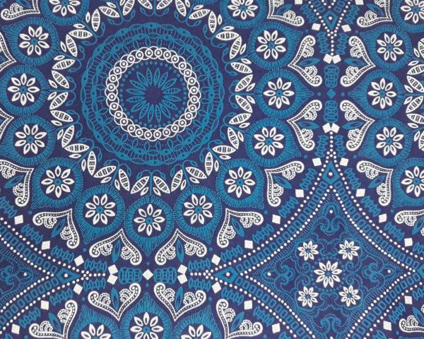 Blue & white rounds on a dark blue background_Three Cats shweshwe