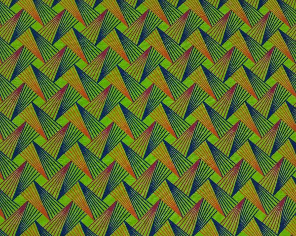 Pink, orange and blue triangles shape like on a green background_Three Cats shweshwe