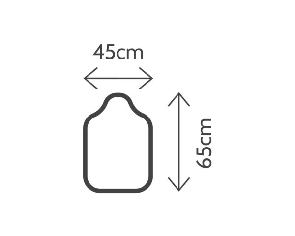 pictogram of a baby changing mat with dimensions