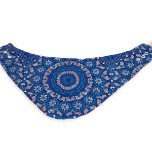 Wonderlands_baby gift_handmade bandana bib_Blue & white rosette_Three Cats shweshwe_cotton towel of white colour_open