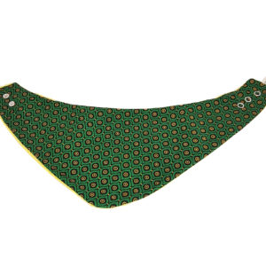 Wonderlands_baby gift_handmade bandana bib_Eyes like shape in green_Three Cats shweshwe_cotton towel of golden colour_open