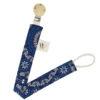 Wonderlands_baby gift_handmade pacifier clip_Kate M_Blue & white rosette_Three Cats shweshwe