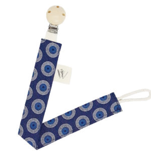 Wonderlands_baby gift_handmade pacifier clip_Marie C_Blue & white rounds on a dark blue background_Three Cats shweshwe