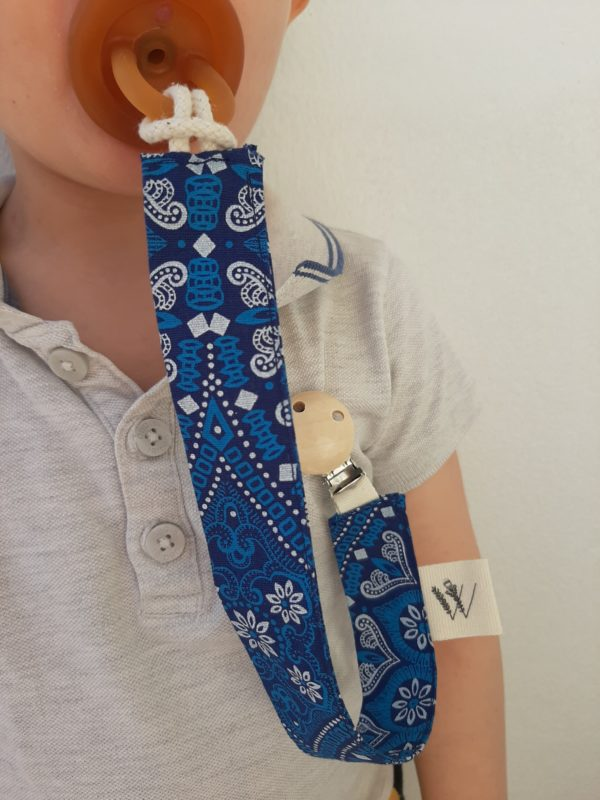 pacifier clip_Kate M fabric with dummy attached on Aaron
