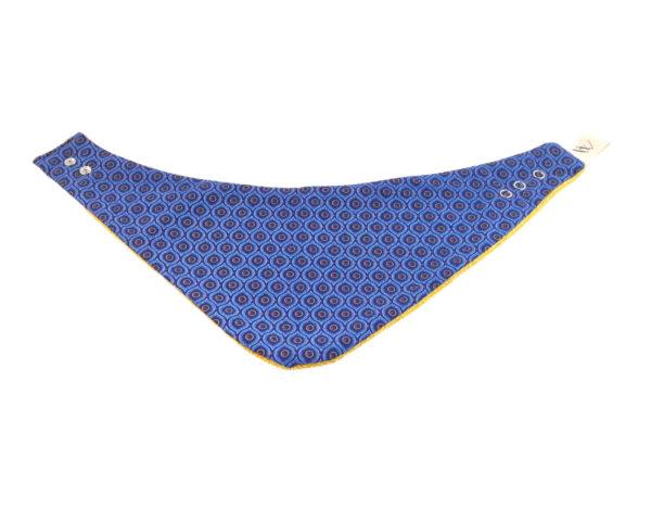 Wonderlands_baby gift_handmade bandana bib_Eyes like shape in blue_Three Cats shweshwe_cotton towel of golden colour_open
