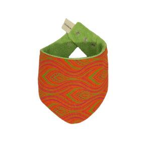Wonderlands_baby gift_handmade bandana bib_Pink and green feather like shape on an orange background_Three Cats shweshwe_cotton towel of verdant colour_closed