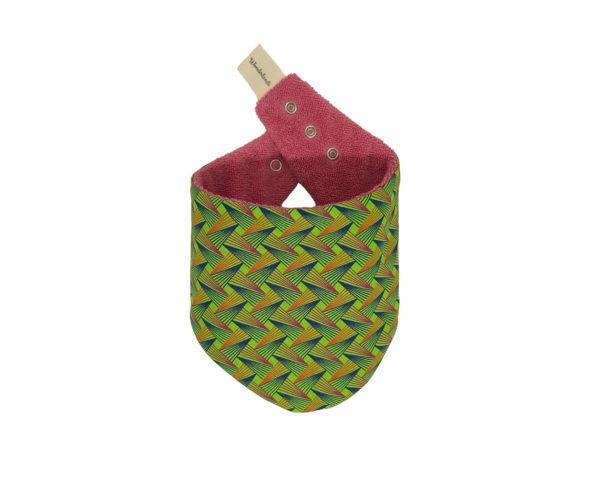 Wonderlands_baby gift_handmade bandana bib_Pink, orange and blue triangles shape like on a green background_Three Cats shweshwe_cotton towel of pink colour_closed