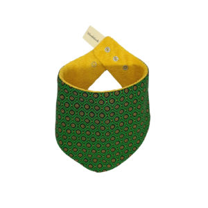 Wonderlands_baby gift_handmade bandana bib_Eyes like shape in green_Three Cats shweshwe_cotton towel of golden colour_closed