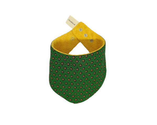 Wonderlands_baby gift_handmade bandana bib_Eyes like shape in green_Three Cats shweshwe_cotton towel of golden colour_closed